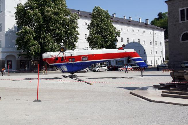 Westland Wessex 60, G-ATBZ, upside down in the Residenzplatz, Salzburg