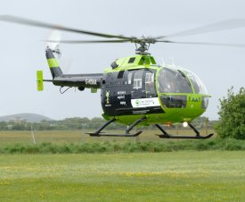 Air Ambulance Bo105DBS-4, G-NDAA landing at The Museum