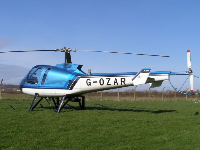 Enstrom 480, G-OZAR, parked at The Helicopter Museum