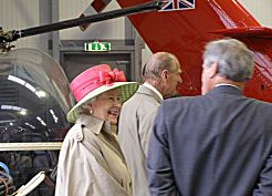 The Queen and the Duke looking at Wessex HCC.4, XV773, with Museum founder Elfan ap Rees